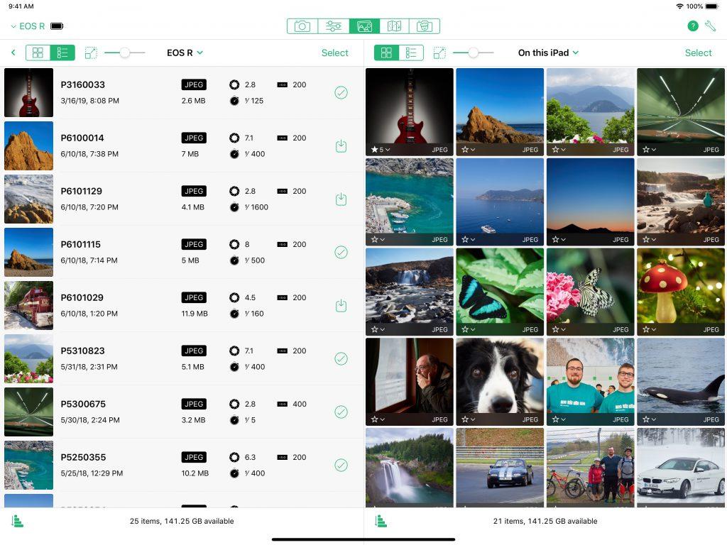 Cascable Fotobrowser auf dem iPad